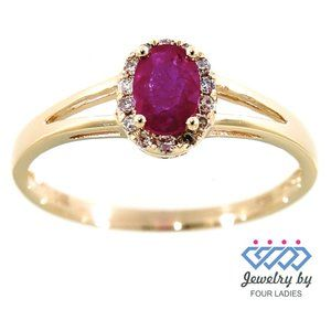 Halo Diamond Oval Style Ruby Ring 14K Yellow Gold
